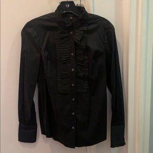 Ann Taylor ruffles collar buttondown shirt sz 00